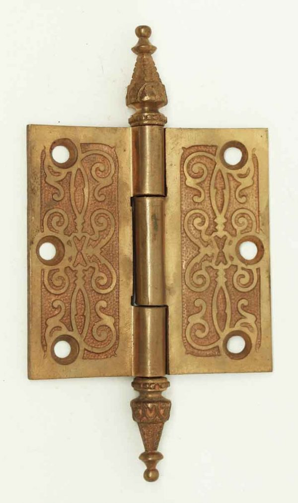 Solid Brass Hinge with Victorian Details - Door Hinges