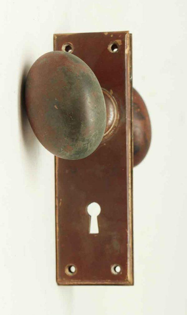 Antique Bronze Oval Heavy Knob Set - Door Knob Sets