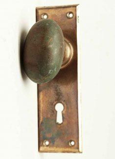 antique heavy bronze knob with plate - Vintage Door Knobs