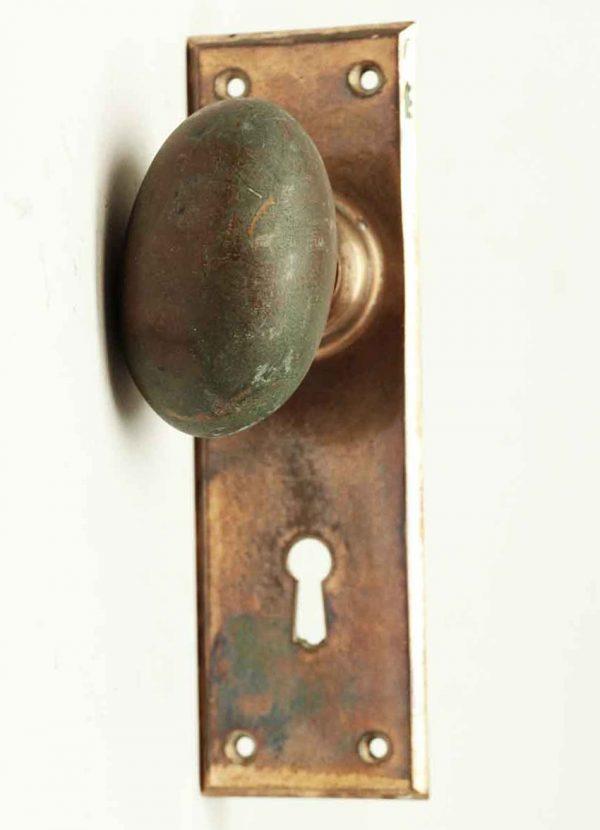 Antique Heavy Bronze Knob with Plate - Door Knob Sets