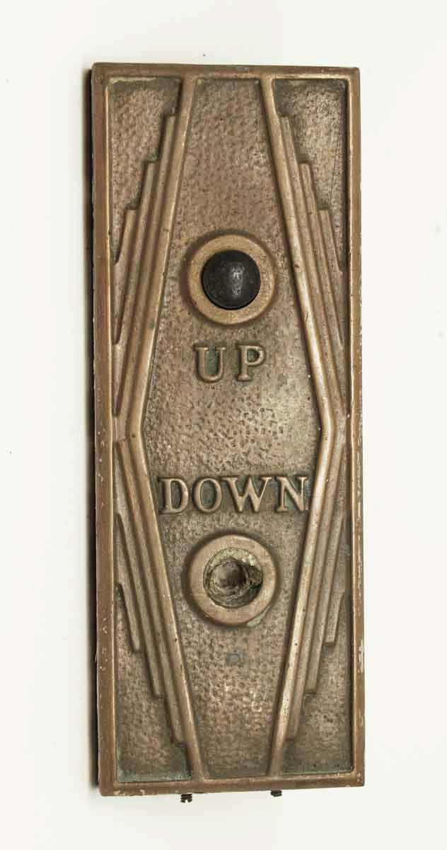Art Deco Bronze Elevator Button Plate Olde Good Things