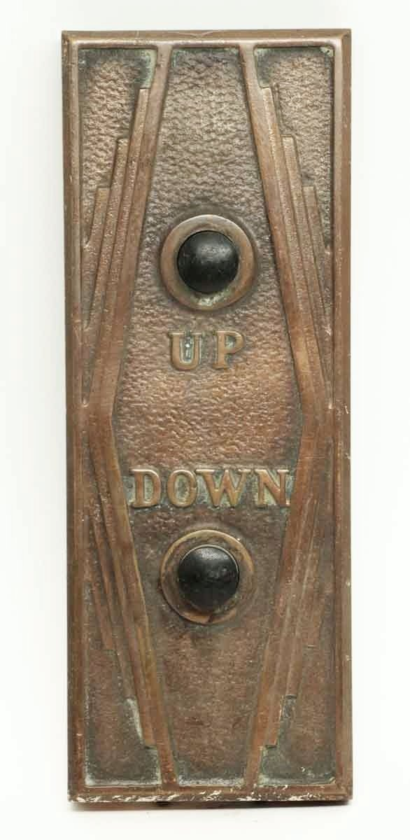 Art Deco Copper Plated Bronze Elevator Plate - Elevator Hardware