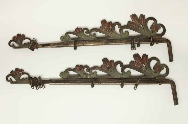 Pair of Art Nouveau Tulip Curtain Brackets - Curtain Hardware