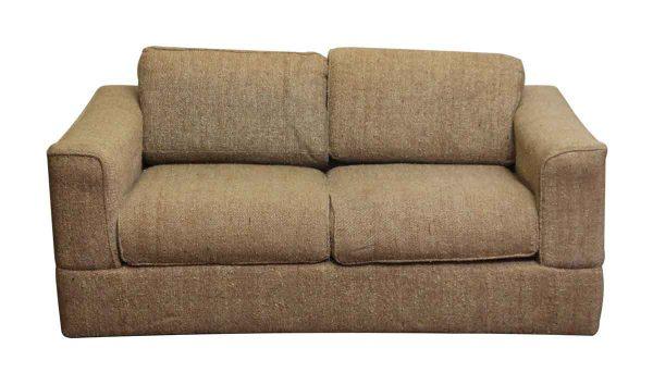 Vintage Tan Tweed Love Seat - Living Room