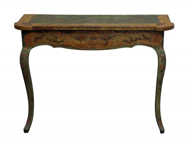 French Hand Painted Wall Console Table - Entry Way
