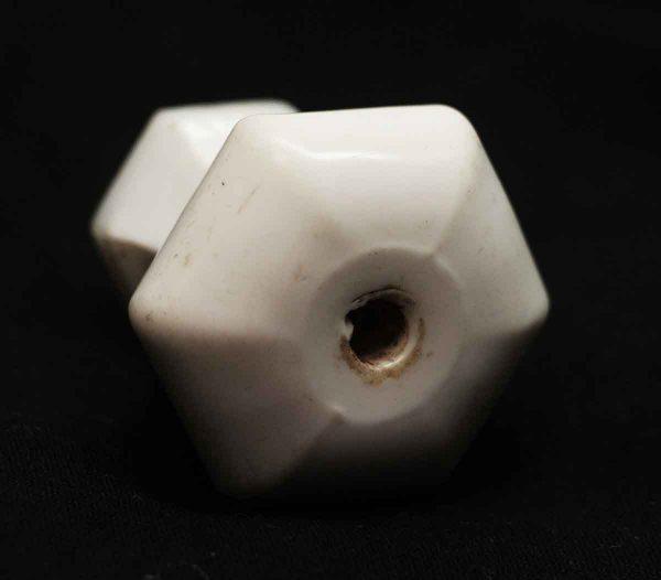Vintage White Milk Glass Hexagon Drawer Knob - Cabinet & Furniture Knobs