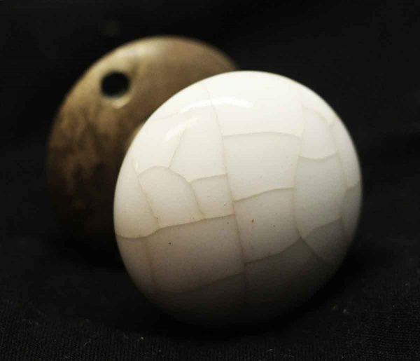 Antique White Crackled Ceramic Knob Set - Door Knobs