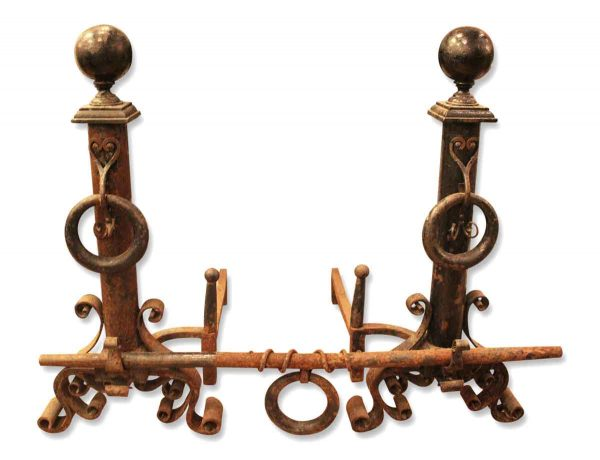 Andirons - Heavy Pair of Wrought Iron Andirons with Crossbar