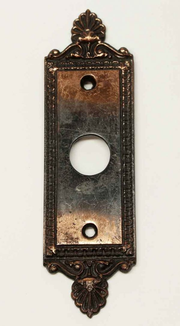 Back Plates - Antique R & E Copper Neo Classical Door Back Plate