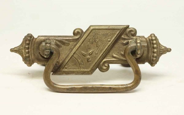 Cabinet & Furniture Pulls - Ornate Beaded Pressed Brass Drawer Pull
