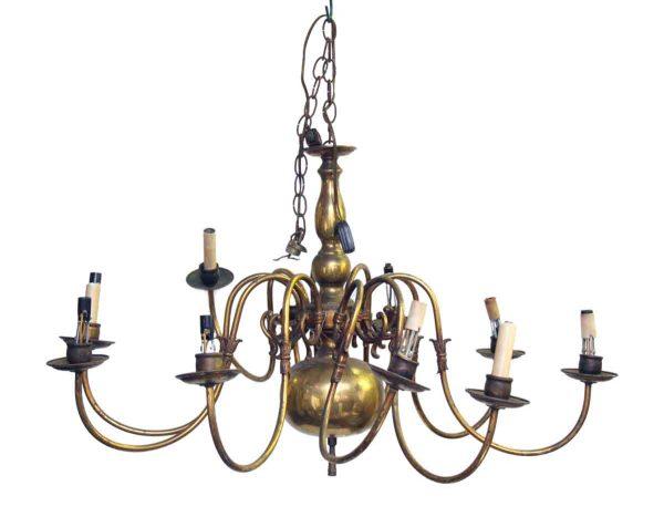 Chandeliers - 10 Arm Brass Colonial Chandelier