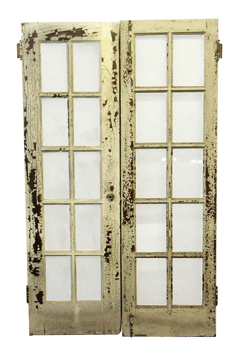 Used old french white wood door olde good things for White french doors for sale