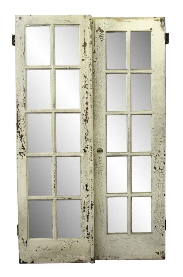 French Doors - Used Old French White Wood Door