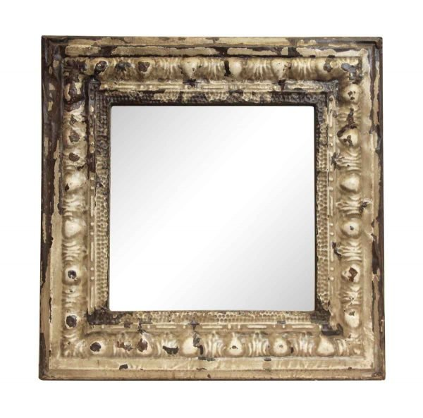 Square Egg & Dart Tan Antique Tin Mirror - Antique Tin Mirrors