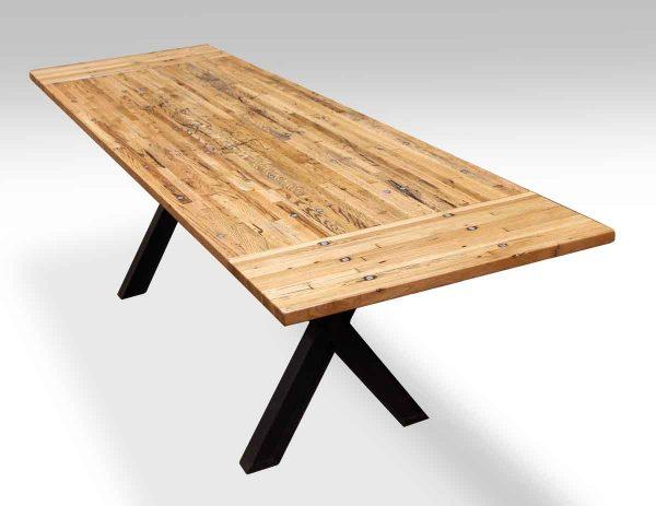 Industrial Flooring Table with Black Metal X Legs & Extensions