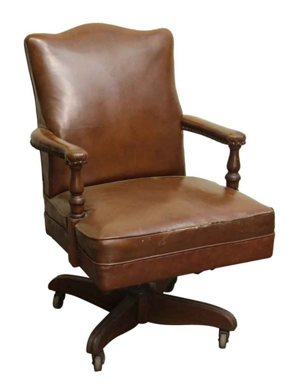 Vintage Brown Office Chair on Wheels - Office Furniture