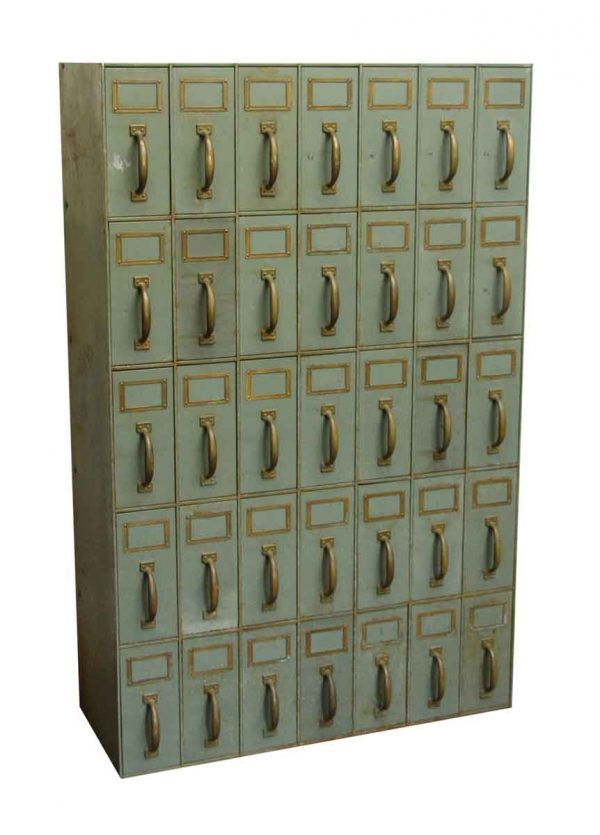 Salvaged Green Metal Cabinet with 35 Vertical Drawers - Cabinets