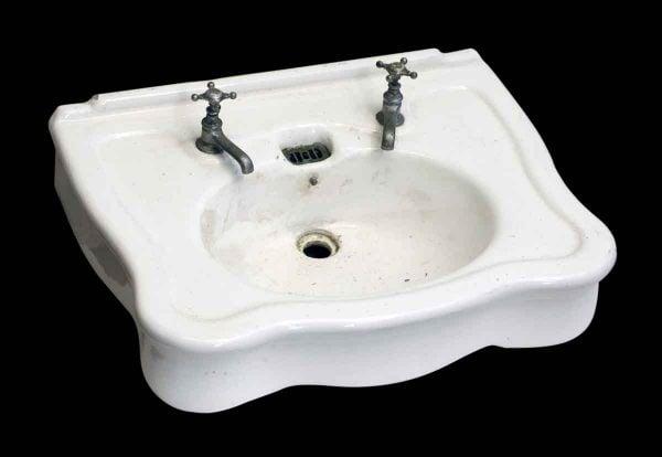 Scalloped Porcelain Sink with Legs & Back Splash - Bathroom