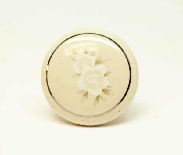 Vintage Cream Ceramic Floral Knob - Cabinet & Furniture Knobs