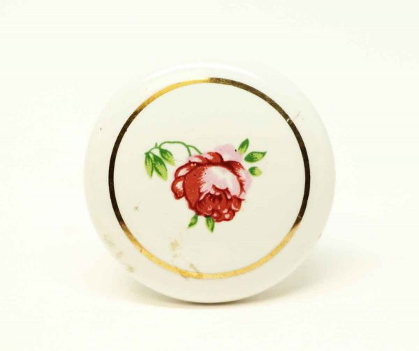 Vintage White Floral Ceramic Knob - Cabinet & Furniture Knobs