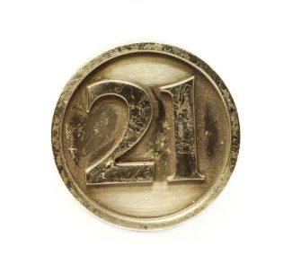 Inscribed 21 Bronze Knob