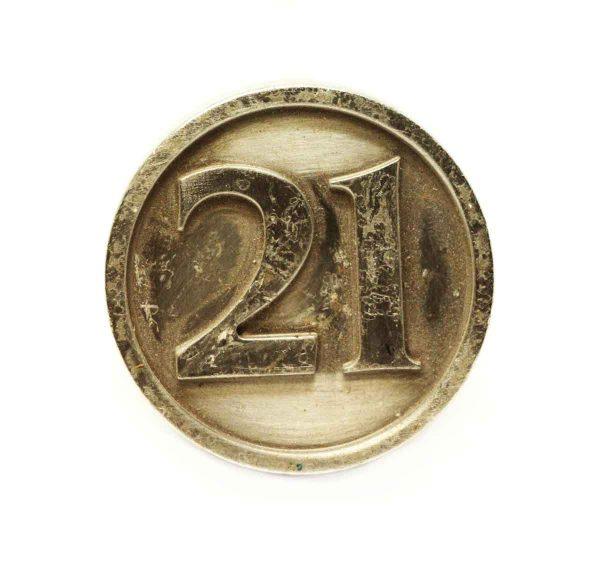 Inscribed 21 Bronze Knob - Cabinet & Furniture Knobs