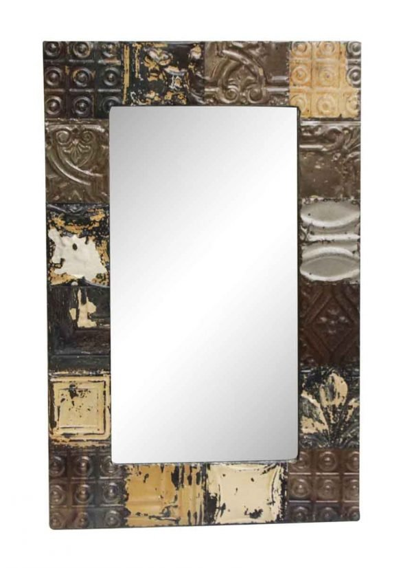Mixed Pattern Antique Tin Mirror with Brown Tones - Antique Tin Mirrors