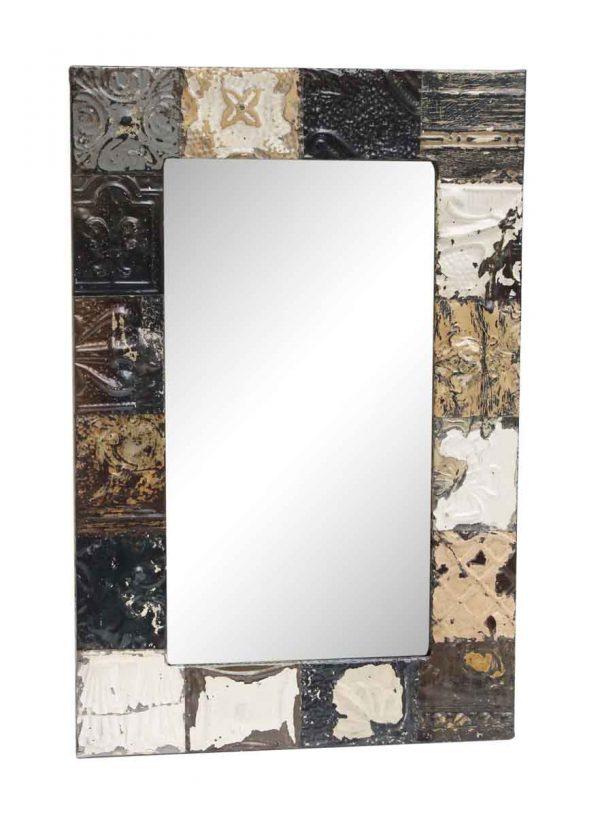 Dark Tone Mixed Pattern Antique Tin Mirror - Antique Tin Mirrors