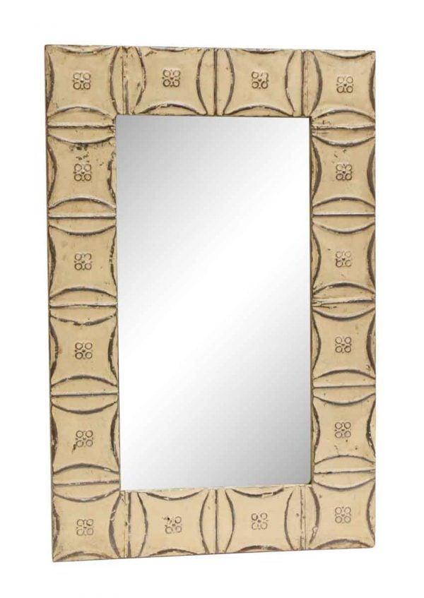 Off White Snowflake Pattern Antique Tin Mirror - Antique Tin Mirrors