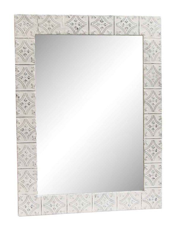 Diamond Tulip White Antique Tin Mirror - Antique Tin Mirrors