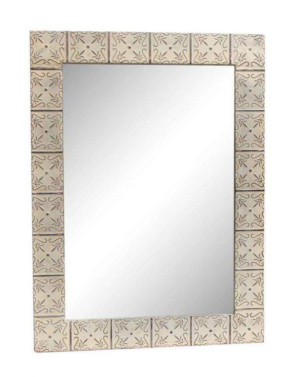 White Petals Style Antique Tin Mirror - Antique Tin Mirrors