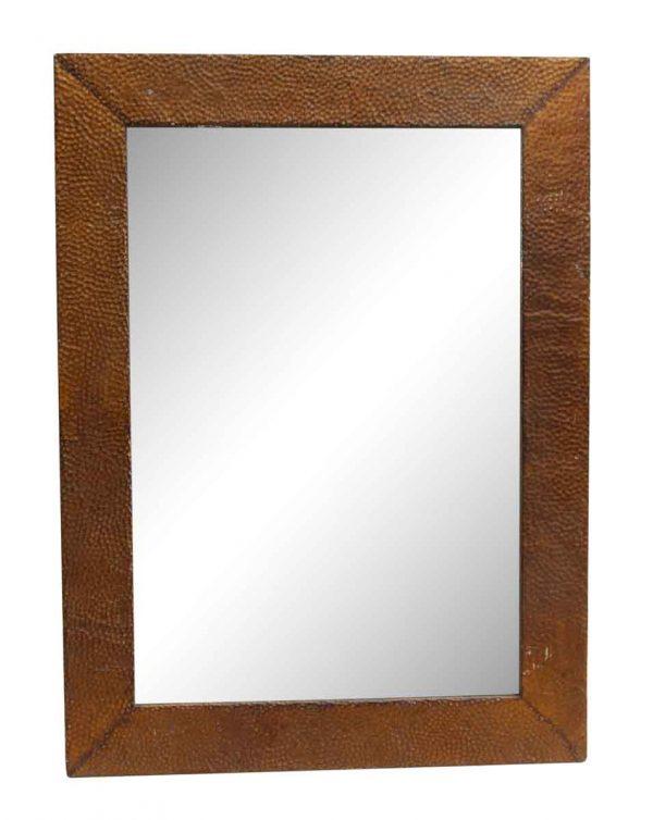Textured Pebbled Brown Antique Tin Mirror - Antique Tin Mirrors
