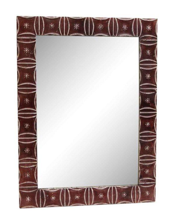 Dark Red Snowflake Pattern Antique Tin Mirror - Antique Tin Mirrors