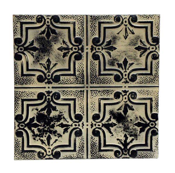 Black & White Four Leaf Style Antique Tin Panel - Tin Panels