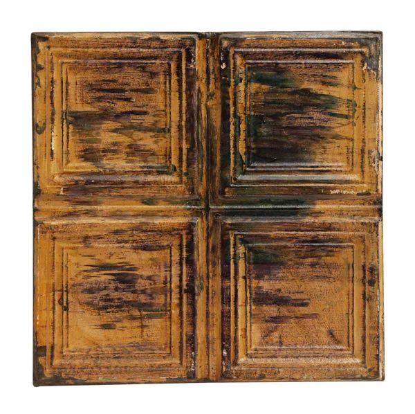 Tan Square Quadrant Antique Tin Panel - Tin Panels