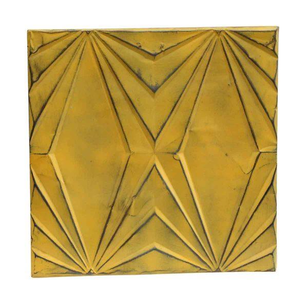 Yellow Art Deco Antique Tin Panel - Tin Panels