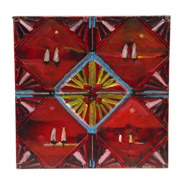 Hand Painted Red Antique Tin Panel with Sailboats - Hand Painted Panels