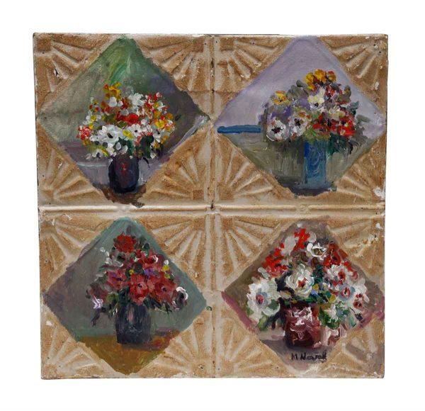 Floral Quadrant Hand Painted Novak Antique Tin Panel - Hand Painted Panels