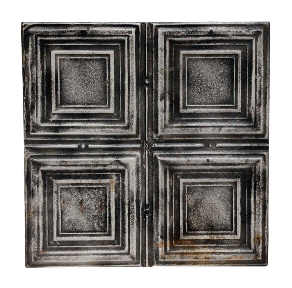 Black Quadrant Square Antique Tin Panel - Tin Panels