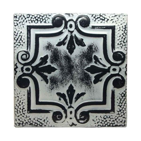 Black & White Four Leaf Antique Tin Panel - Tin Panels