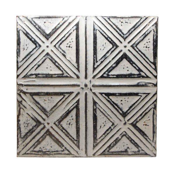 White & Silver X Style Quadrant Antique Tin Panel - Tin Panels