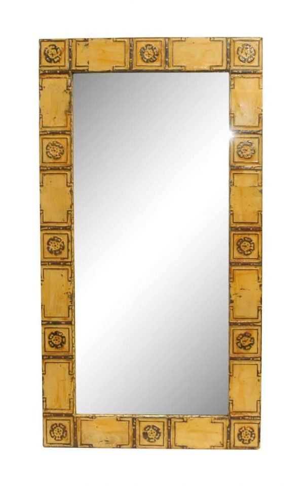 Yellow Ithica Flower Pattern Antique Tin Mirror - Antique Tin Mirrors