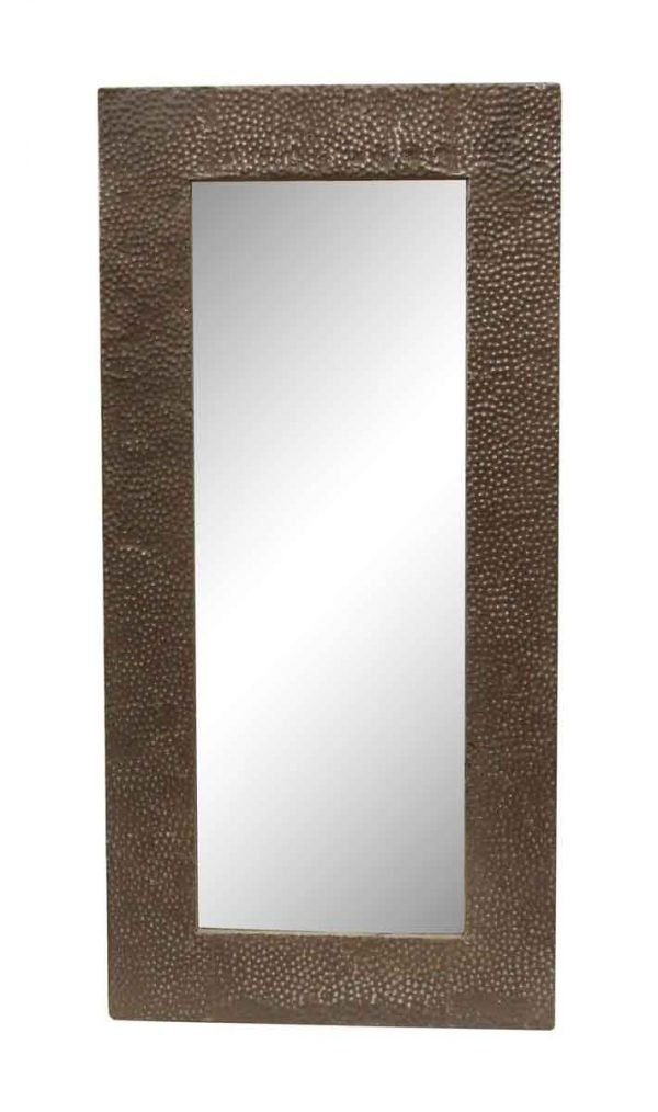 Brown Textured Pebbled Antique Tin Mirror - Antique Tin Mirrors