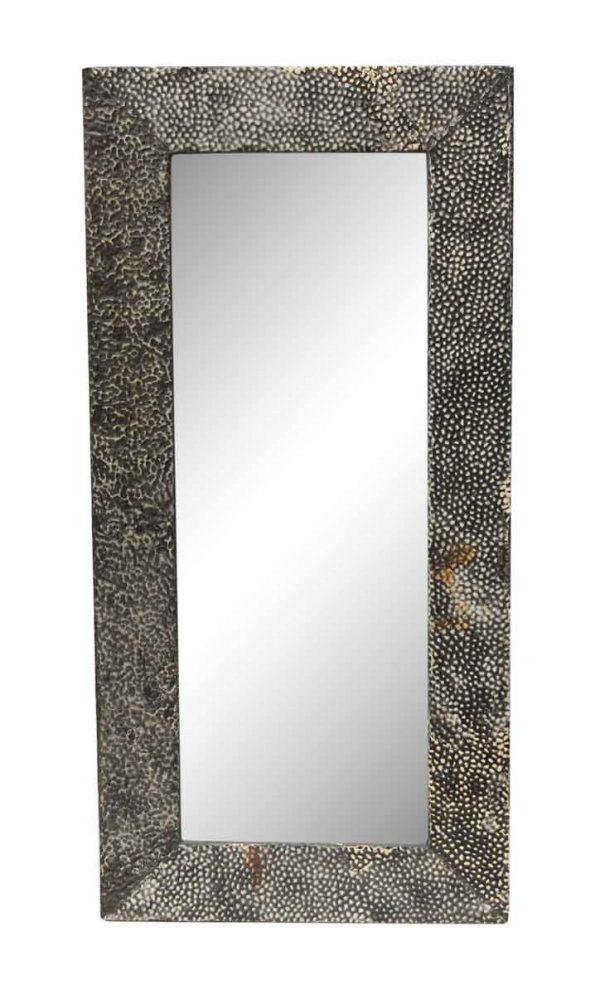 Black Pebbled Antique Tin Mirror - Antique Tin Mirrors