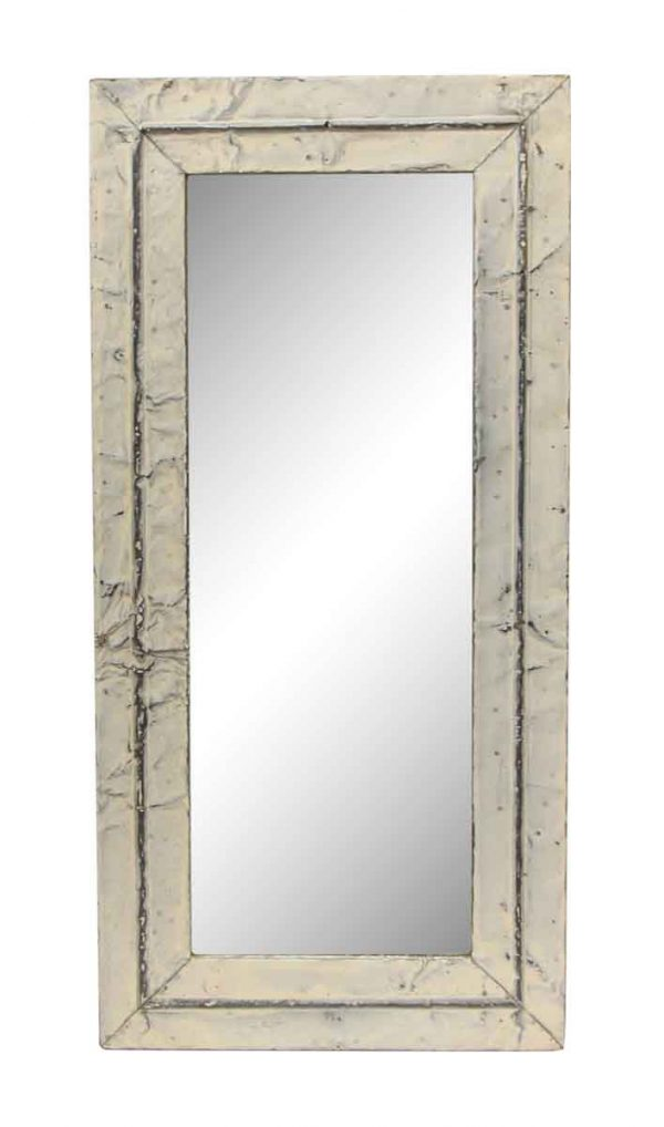White & Silver Border Antique Tin Mirror - Antique Tin Mirrors