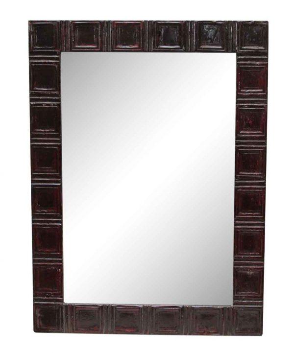 Deep Red Squares Style Antique Tin Mirror - Antique Tin Mirrors