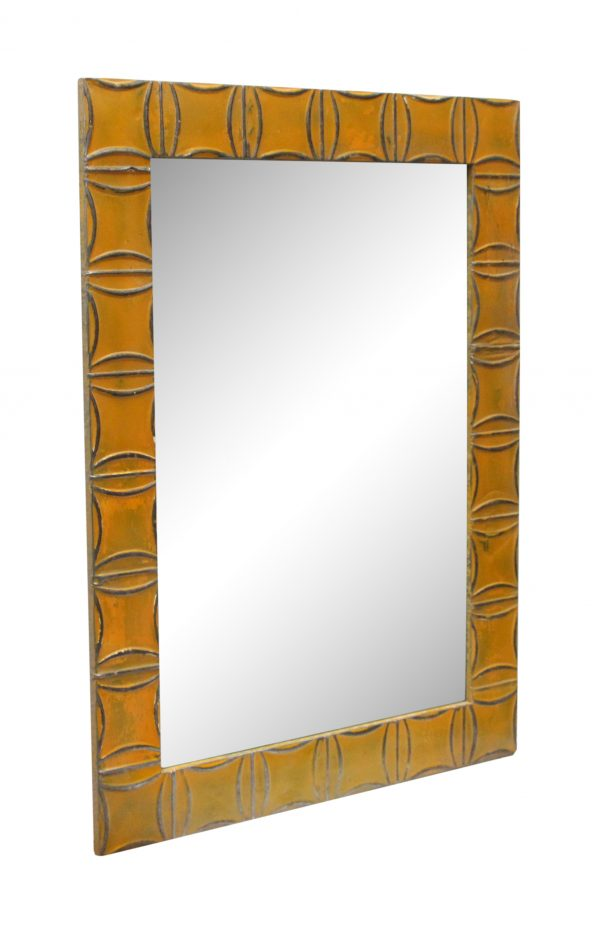 Orange Curved Squares Style Antique Tin Mirror - Antique Tin Mirrors