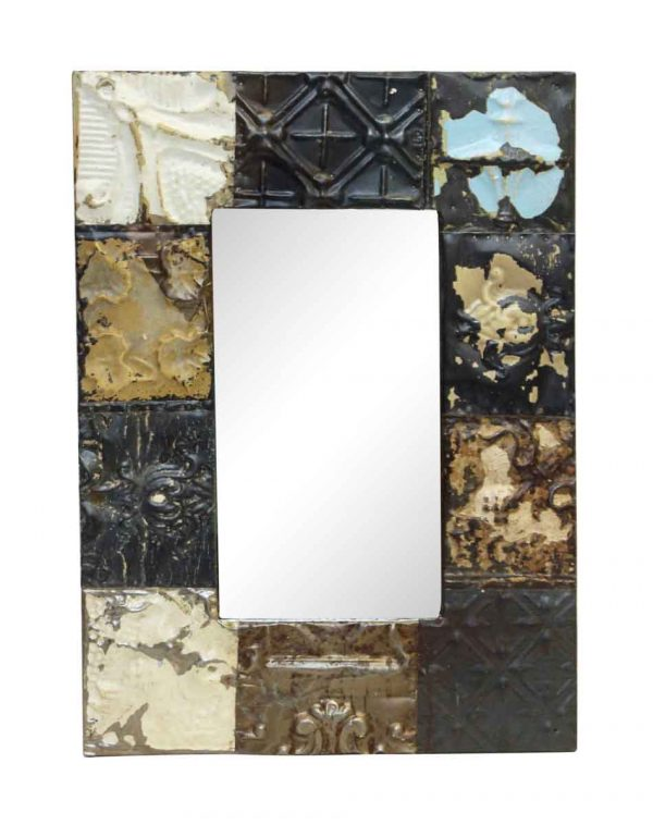 Neutral Mixed Style Antique Tin Mirror - Antique Tin Mirrors