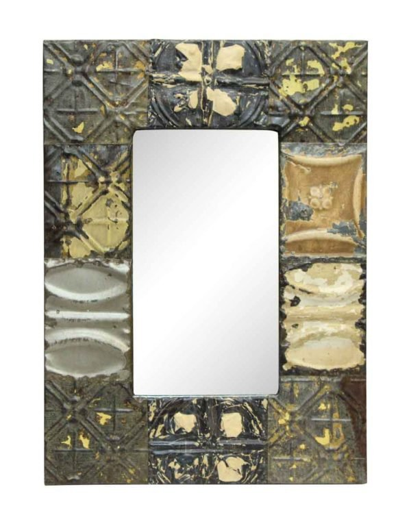 Neutrals Antique Tin Mirror with Mixed Pattern - Antique Tin Mirrors