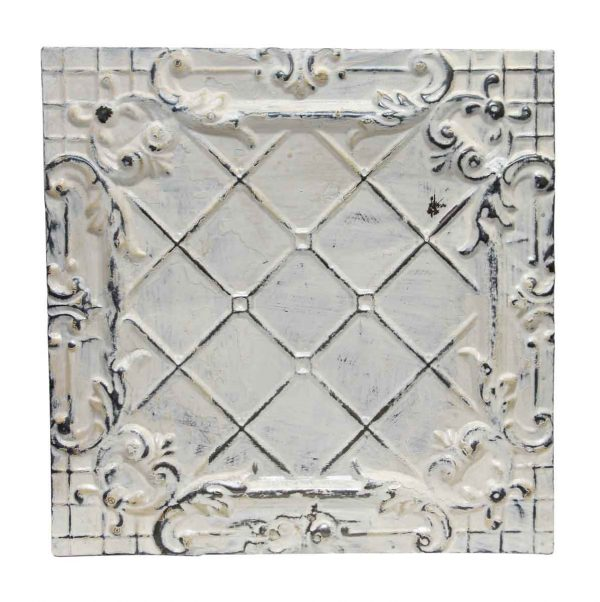 White Ornate Cross Pattern Antique Tin Panel - Tin Panels